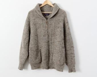FREE SHIP  1970s Pendleton cardigan, vintage wool zip up sweater