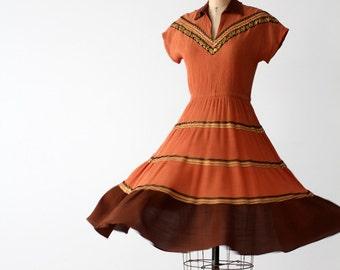 1950s southwestern gauze dress