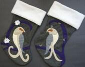 "Couple's Christmas Stocking Set--""Two Turtle Doves"""