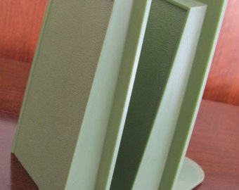 Vintage 70's Mid Century Mod Avocado Green Plastic Book Ends - pair - 70's Office - Library - Bookends