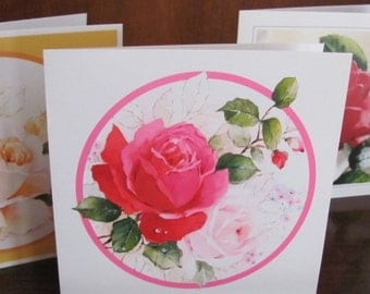 Vintage Glossy Floral Get Well, Thinking of You Cards - set of 3 with envelopes - Greeting Cards