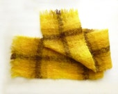1960's Scottish made Yellow and Brown Mohair and Wool Scarf