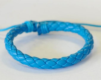 Baby Blue braided leather cord Bracelet