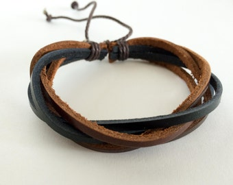 Brown and Black interlaced leather bracelet