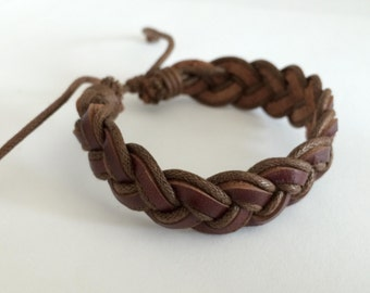 Dark Brown braided hemp cord with Brown Leather Bracelet