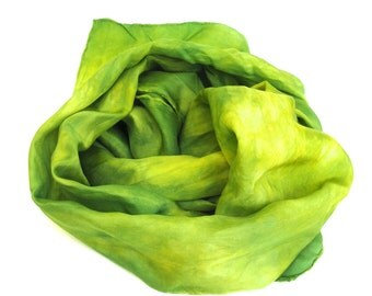 SALE  ...   hand dyed silk scarf  ... shades of kiwi green and chartreuse yellow