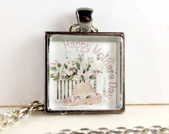 Mother's Day Necklace, Happy Mothers Day, Square Glass Tile Pendant, Gift for Mom