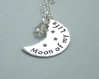 Game of Thrones Jewelry - Moon of My Life  - Hand Stamped Sterling Silver Crescent Moon and Swarovkski Crystal Necklace