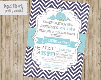 Whale Baby Shower Invitation, Whale Baby Shower, Whale Baby Shower, Baby Boy Shower Invitation, Baby Girl Shower Invitation