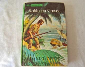 Vintage Robinson Crusoe Daniel Defoe Companion Library Children's Classic Hardcover Book 1963