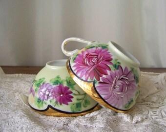 Antique China Teacups Lavender Floral Hand Painted Pair of Teacups Gold Trim Brides Teacup Vintage Wedding Shabby Cottage Vintage 1930s
