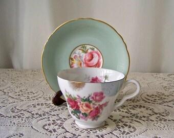 Vintage Teacup and Saucer Sage Green Lefton Teacup Paragon Saucer Gift for Mom Mismatched Teacup and Saucer 1950s