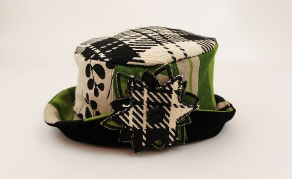 Green and Black Hat with Fabric Flower and Suede Brim