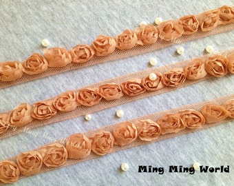 Ginger Chiffon Lace Trim -2 Yards Chiffon 3D Rose Lace Applique Trim(C89)