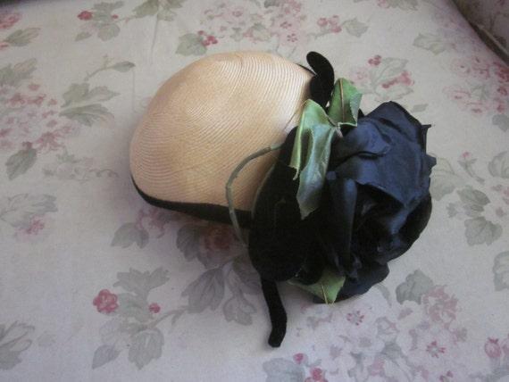 Large Woven Hat Fascinator Adorned With Large Black Rose & Velvet Ribbon Bow