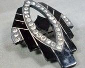 Vintage Brooch Black Lucite Plastic Rhinestone Art Deco