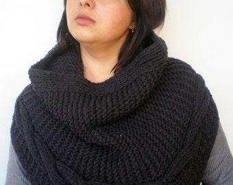 Charcoal Big Design Cowl Super Soft Neckwarmer Woman Cowl NEW