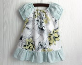 Boutique dress Shabby Chic pale yellow and light aqua green floral peasant dress in sizes 2, 3, 4, 5, 6, 7, 8