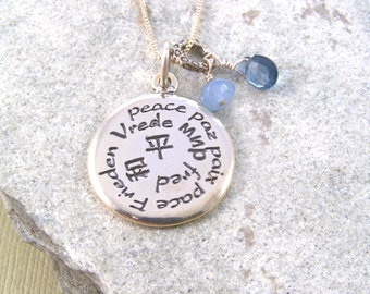 Peace Pendant in Sterling Silver with Angelite & Blue Topaz-Zen Jewelry-Gift for Friend