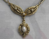 Victorian Style Lavalier Choker Necklace Filigree Pearls Vintage Jewelry