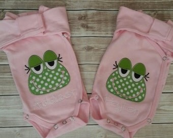 Twin Pink Preemie Kimono Style Bodysuits with applique and name