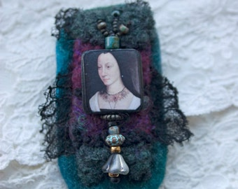 Portrait Amulet Brooch, renaissance lady, felt and antique lace brooch, deep green purple black