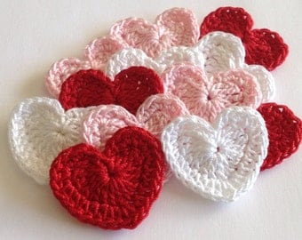 Small Crochet Hearts - Red, Pink and White, 12 Total