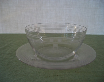 Vintage Etched Glass Serving Bowl and Under Plate Condiment Set