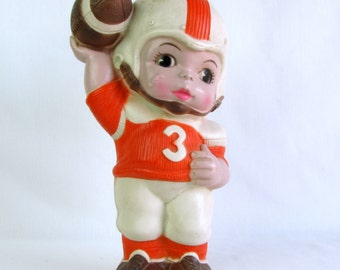 Vintage 1970s No. 3 Orange Colors Football Player Bank