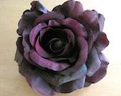 Deep Purple Plum Olive Silk Rose Flower Hair Clip