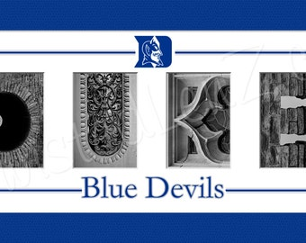 Duke University Blue Devils Alphabet Photo Collage