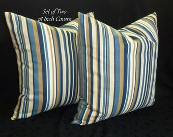 Decorative Throw Pillows, Pillow Covers, Accent Pillows - Blue/Tan Stripe - Set of Two