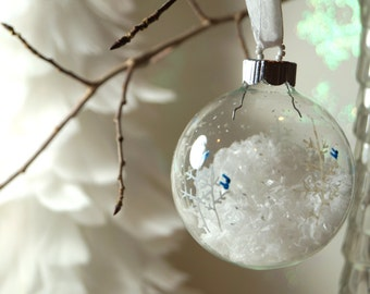Let it Snow, Let it Snow - Hand Painted Christmas Ornament - Blue Jay Snow scene with Flakes of Snow, White Trees, Glass Christmas Ornament