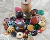 Vintage Button Lot - Fall Brown and Green Wood Collection - Mix 656