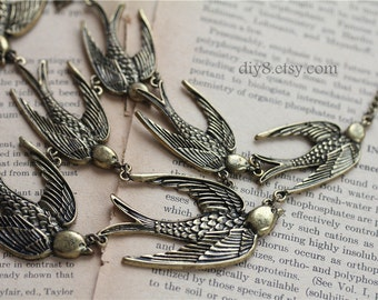 Vintage style Bronze Necklace ,A flock of swallows Pendant    N14-04