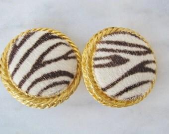 80s Pony Hair Zebra Stripe Button Style Earrings Clip