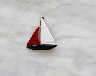 60s 70s Sail Boat Ship Yacht Red White Blue Enamel Brooch Pin