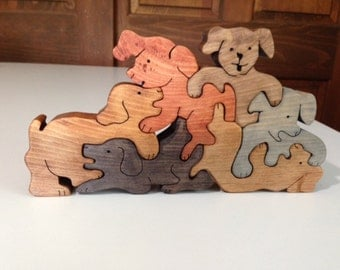 Wood Stacked Dogs Family Puzzle - Handmade - 6 Pieces - Stained