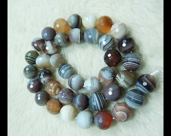 Faceted Agate Gemstone  Loose Beads,1 Strand,40cm in the Lenght,10mm,55.33g