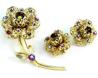 Ruby Rhinestone Accented Sarah Cov Brooch and Earrings Vintage Set