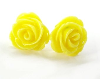 Yellow Rose Earrings Posts
