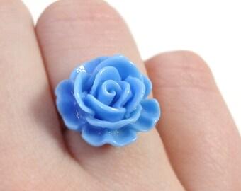 Blue Rose Adjustable Flower Ring