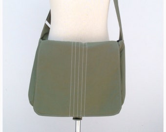 SALE Smoke Green Canvas Messenger Bag, Shoulder Bag, Cross body Bag, Travel, School Bag, Everyday Bag, Cotton Bag, Unisex Bag, Men - Kiyomi