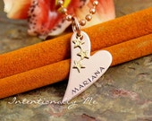 Fancy copper heart with stars pendant - Personalized Hand Stamped Necklace - Custom Jewelry