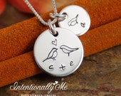 Mommy Necklace - Personalized Jewelry - Tiny tags - All Together (Necklace with one kid initial)