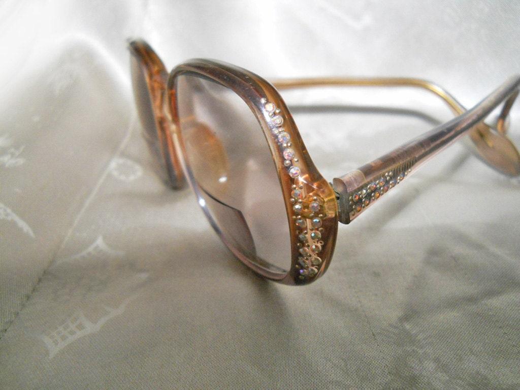 Vintage Rhinestone Eyeglasses 70s Glasses Frames Odd Shape