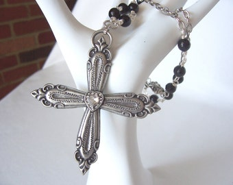 cross necklace, silver cross necklace, pendant necklace, Winter 2017 fashion trends, Gothic style jewelry, great  gift idea