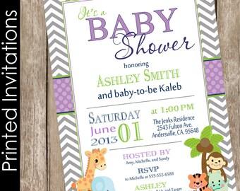 Printed Safari Baby Shower Invitation, safari, chevron, purple, green, jungle, typography (FREE ENVELOPES)