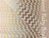 Fold Over Elastic 5 Yards Ivory with Gold Foil Chevron