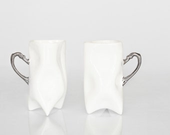 Ceramic porcelain cups set - white with silver, unique cups handmade for coffee or tea by Endesign